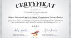 Certyfikat Jakości Kształcenia Języków dla I LO
